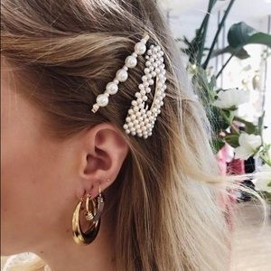 Set of 3 Faux Pearl Oversized Hair Barettes